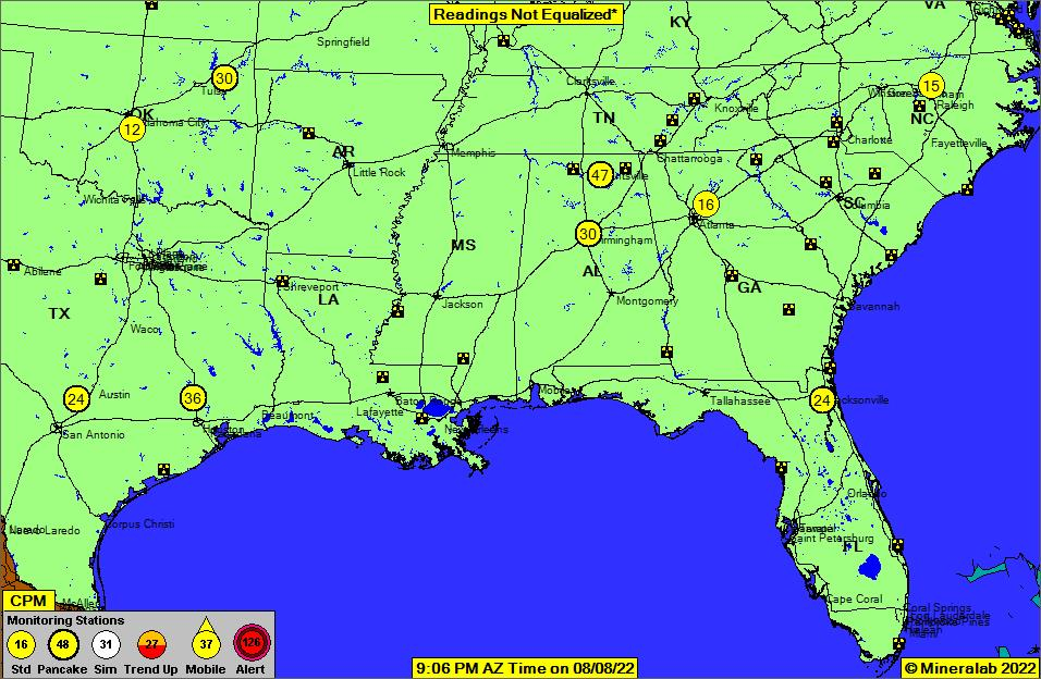 Southeast US Current EPA Radnet Radiation Air Monitoring Data