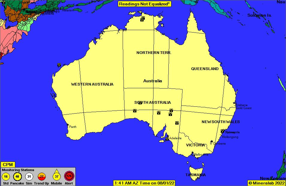 Australia Current EPA Radnet Radiation Air Monitoring Data