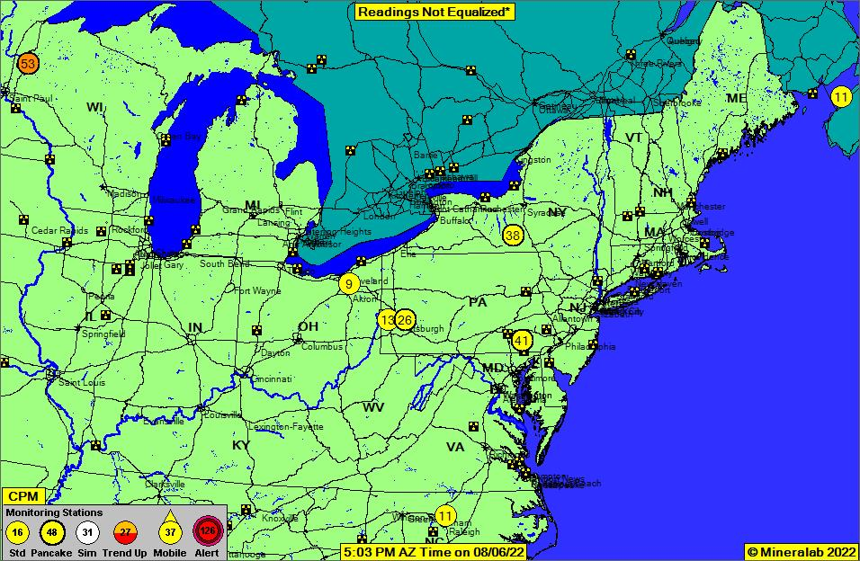 Northeast US Current EPA Radnet Radiation Air Monitoring Data