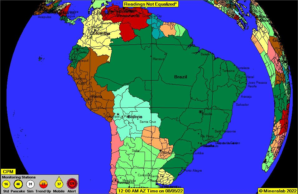 South America Current EPA Radnet Radiation Air Monitoring Data