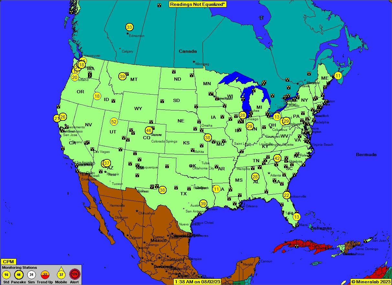 Aktuelle radioaktive Strahlung in den USA